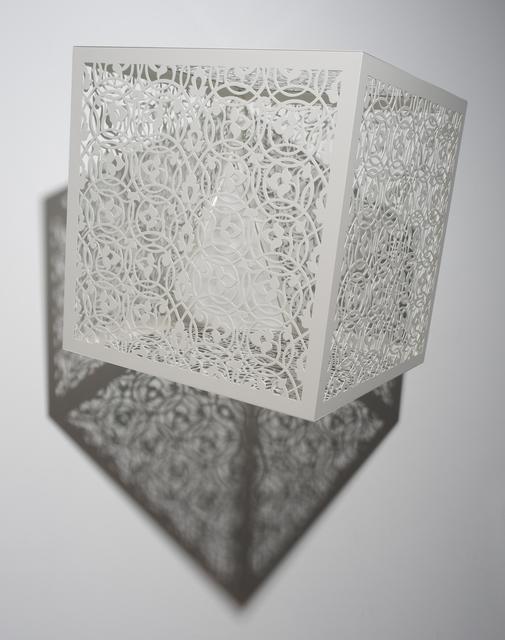 Anila Quayyum Agha, 'Itinerant Shadows - White (Bola)', 2019, Sculpture, White laser-cut lacquered steel & light bulbs, Sundaram Tagore Gallery