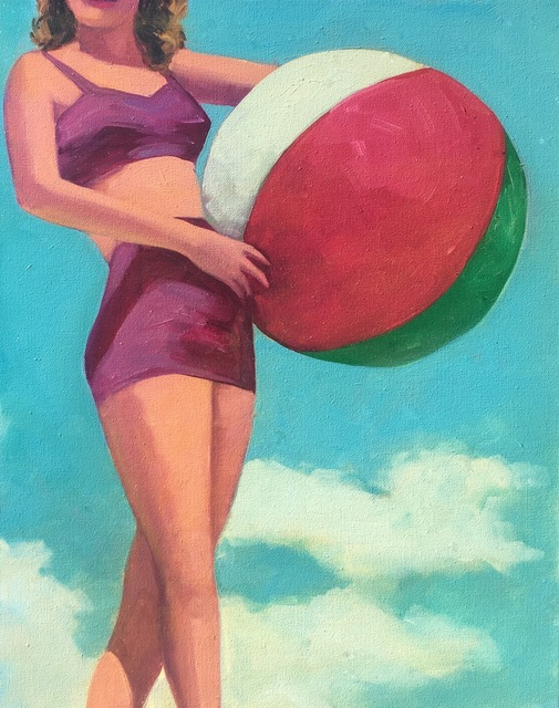 """, '""""Summer Sunshine"""" Woman holing a beach ball in vintage Purple Bikini with Turquoise Sky,' 2017, Eisenhauer Gallery"""