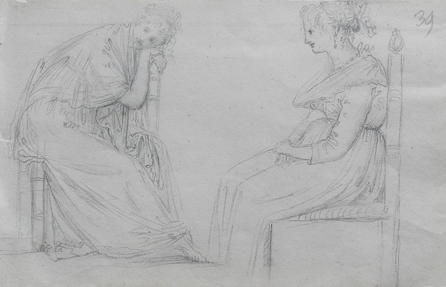 , 'Studies of two seated women,' Early 19th century, Alessandra Di Castro