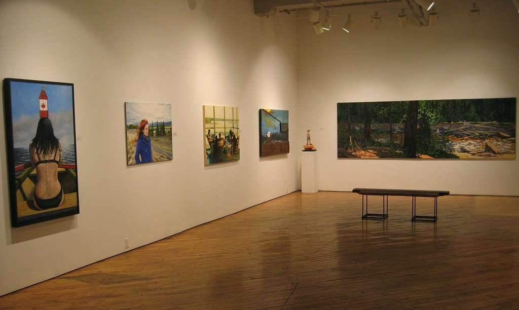 From left to right: Rhude's 'Roxanne', Horton's 'Emilie, Takhini North', Mori's 'Book Club', Ross' 'The Last Three Trees', and Chatfield's 'Along the River #1 and #2, Diptych'