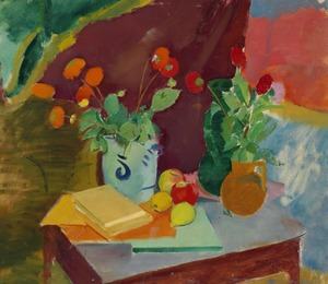 Nature morte with flowers in grey vase, green and brown vase, fruits and books