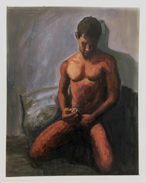 George Towne, 'Manual Condom Demonstration #3', 1992, Painting, Oil on poster board, Visual AIDS Benefit Auction