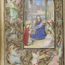 Lievan van Lathem, 'The Virgin and Child with Angels', 1471, Tempera colors, gold leaf, gold paint, silver paint, and ink on parchment, J. Paul Getty Museum