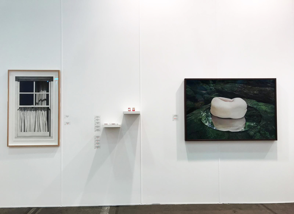 MAY SPACE at Booth G09, Installation 3 - 13-15th September, 2019 featuring: Catherine O'Donnell, 'Union Street, London #2', 2019, charcoal on paper - framed.  Mylyn Nguyen, collection of matchbox sculptures, 2019. Nicole Welch, 'W I L D #1 - prelude', 2019, giclée print on archival fine art paper.