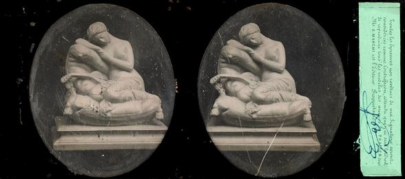 Two French stereo-daguerreotypes of statues by Pradier