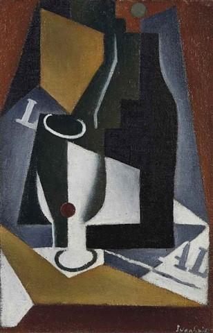 , 'Bouteille, verre et journal,' 1918, Osborne Samuel