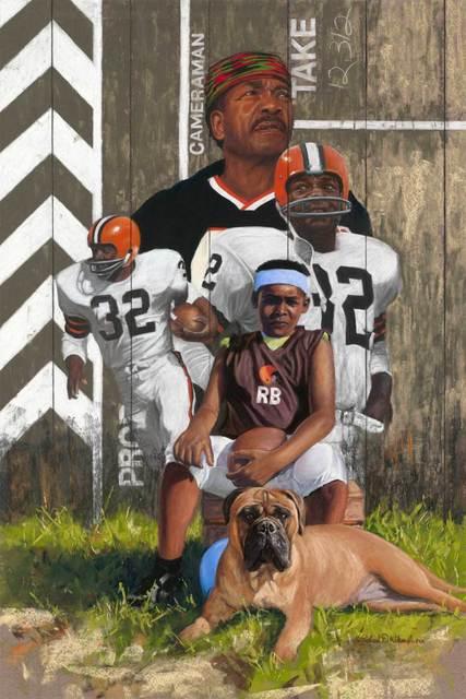Richard Wilson Jr., 'In His Shadow - Jim Brown', ca. 2018, Painting, Pastel, Gugsa Black Arts Collective