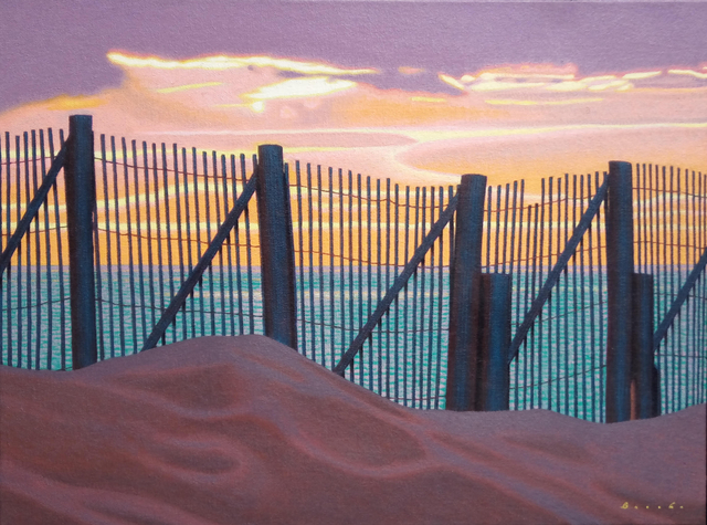 ", '""Sunset Fence"" oil painting of a fence on the beach with pink and lavender sunset over the ocean,' 2010-2018, Eisenhauer Gallery"