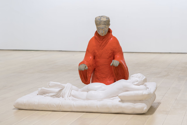 XU ZHEN®, ' Alien 2 - Sleeping Hermaphroditos, Western Han Dynasty Female Musician Playing a Zither', 2017-2018, Mixed Media, Mineral-based composite, acrylic paint, stainless steel, ShanghART