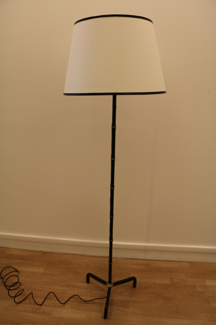 Jacques Adnet, 'Floor Lamp Covered with Dark Blue Leather, by Jacques Adnet', 1950-1959, Design/Decorative Art, Leather, brass, Avant-Garde Gallery