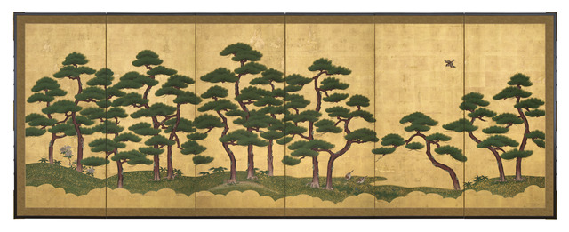 , 'Pair of Six-Panel Screens, Pine Trees (T-3606L),' Edo period (1615, 1868), 18th century, Erik Thomsen