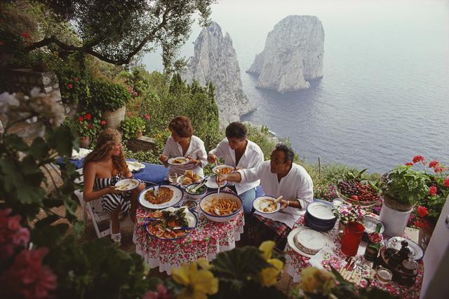 Slim Aarons, 'Dining Al Fresco On Capri', 1980, Photography, C-print, IFAC Arts