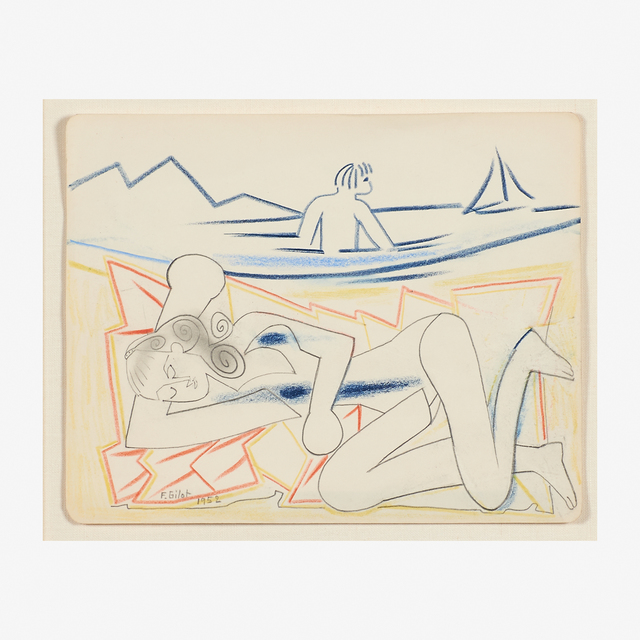 Françoise Gilot, 'Françoise Asleep, Paloma in the Water, a Sailboat', 1952, Drawing, Collage or other Work on Paper, Pencil and colored pencils on paper (framed), Rago/Wright