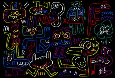 Friends in neon