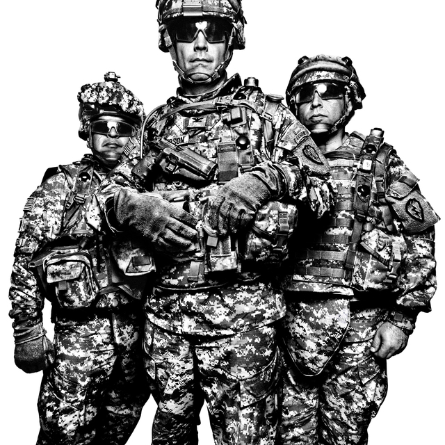 , 'SERVICE: Command Sgt. Maj. Gabriel Cervantes, Col. Burt Thompson, & Interpreter John Mardo. Fort Irwin.,' 2008, Milk Gallery