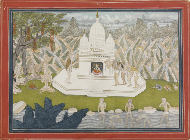 , 'Ascetics before the shrine of the goddess, page from a manuscript of the Kedara Kalpa. ,' ca. 1815, Asian Art Museum
