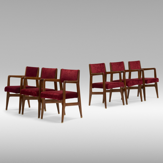 Gio Ponti, 'set of six dining chairs from the Augustus ocean liner', c. 1950, Rago/Wright