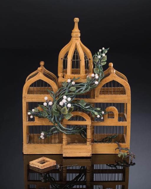 Kathleen Elliot, 'Liberty #2', 2015, Sculpture, Flameworked glass, found bird cage, HABATAT