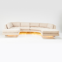 Omnibus three-piece sectional sofa with  illuminated base: L-shaped section, demi-lune  section and ottoman
