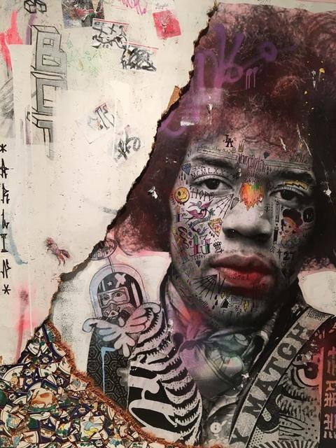 Stikki Peaches, 'Jimi Hendrix', 2019, Painting, Mixed media on reclaimed wood boards and hand painted Tunisian tiles, Art Angels