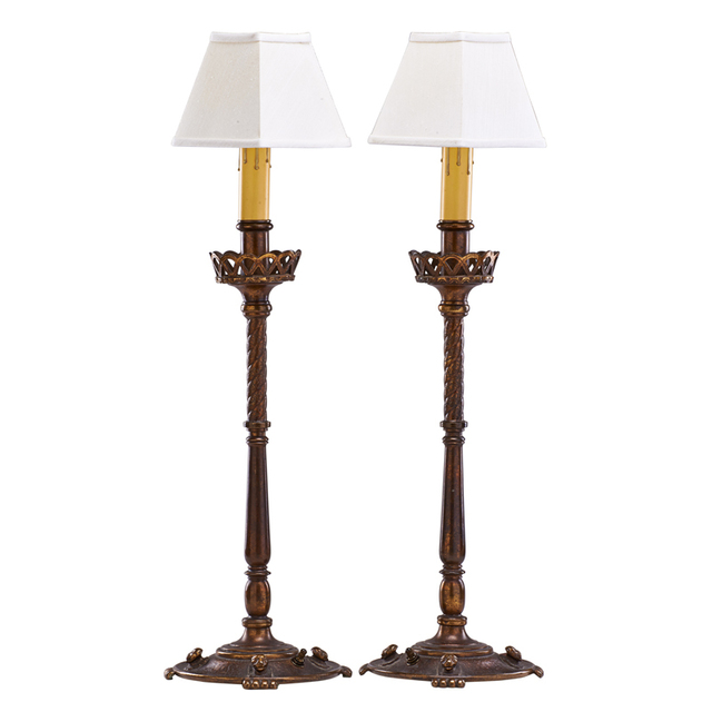 Oscar Bach, 'Pair Of Table Lamps With Lion Motif, New York', ca. 1920, Rago/Wright