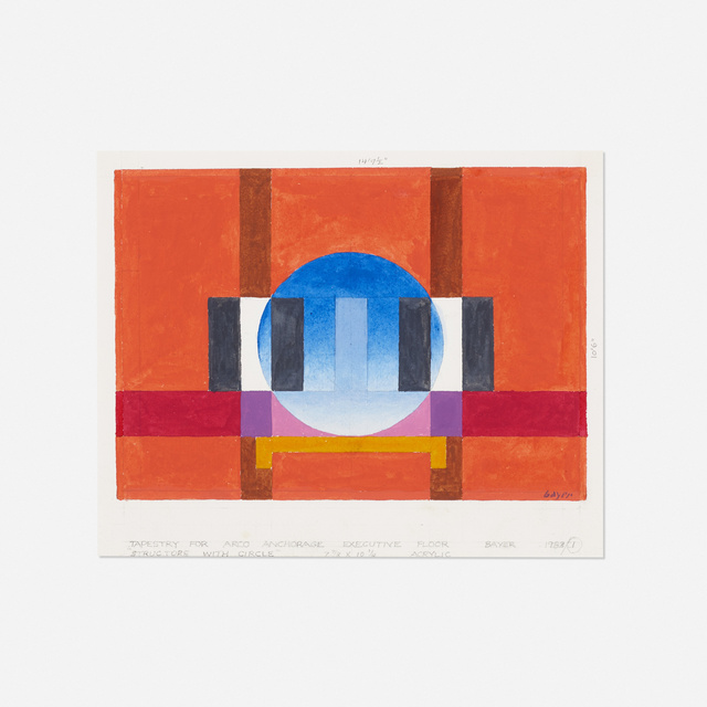 Herbert Bayer, 'study for Structure with Circle tapestry', 1983, Drawing, Collage or other Work on Paper, Acrylic on paper, Rago/Wright