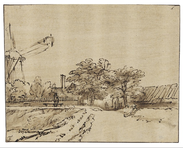 Rembrandt van Rijn, 'Rampart near the Bulwark beside the St. Anthonispoort in Amsterdam', 1648-1652, Drawing, Collage or other Work on Paper, Rijksmuseum