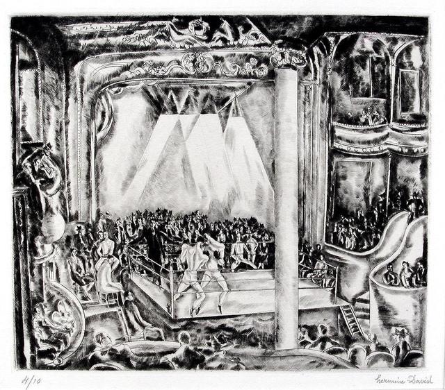 Hermine David, 'Boxing Match', ca. 1929, Print, Drypoint and engraving, Harris Schrank Fine Prints