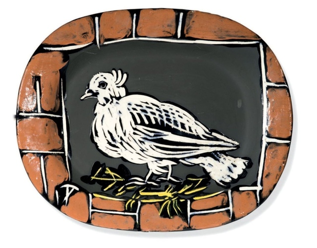 Pablo Picasso, 'Colombe mate', ca. 1948, Sculpture, Polychrome enamelled faience oval dish showing a dove on its nest in a brick frame., BAILLY GALLERY