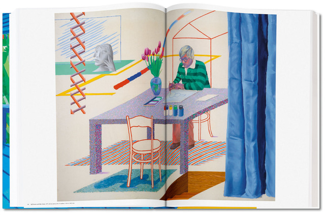 David Hockney, 'David Hockney. A Bigger Book. Art Edition B, No. 251–500', 2016, Print, Hardcover, 498 pages, 13 fold-outs, 50 x 70 cm (19.7 x 27.5 in.); with iPad drawing Untitled, 346, 2010, signed by the artist and numbered, 8-color ink-jet print on cotton-fibre archival paper, 33 x 44 cm (12.9 x 17.3 in.) on 43.2 x 56 cm (17 x 22 in.) paper; an adjustable bookstand by Marc Newson; and an illustrated 680-page chronology book, TASCHEN