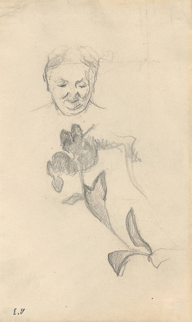 Édouard Vuillard, 'Studies of Madame Vuillard and Foliage (Madame Vuillard et feuillage)', ca. 1895, Drawing, Collage or other Work on Paper, Pencil on paper, Jill Newhouse Gallery
