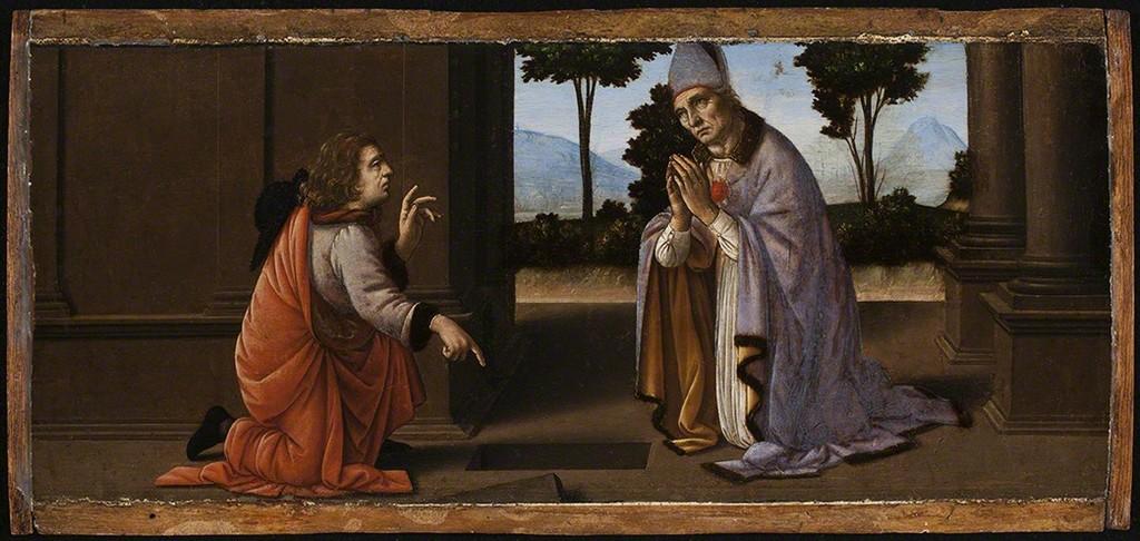 A Miracle of Saint Donato of Arezoo Leonardo da Vinci Lorenzo di Credi ca. 1475-85 Oil on panel
