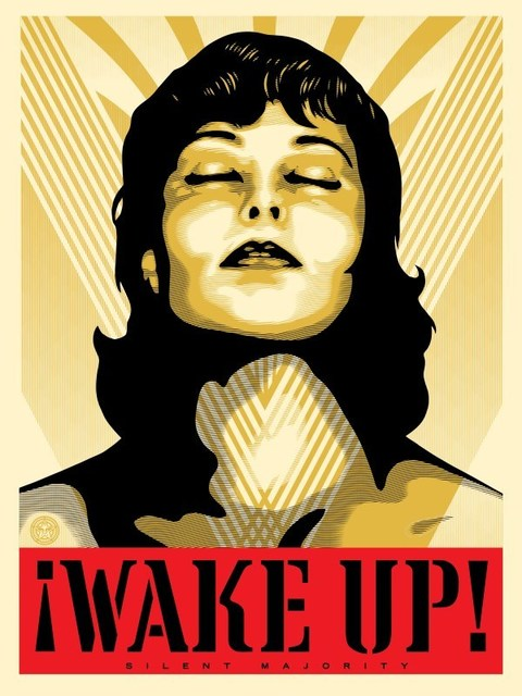 Shepard Fairey, 'Wake Up! - Cream', 2017, Blackline Gallery