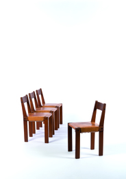 Four  S24 dining chairs in elm and leather