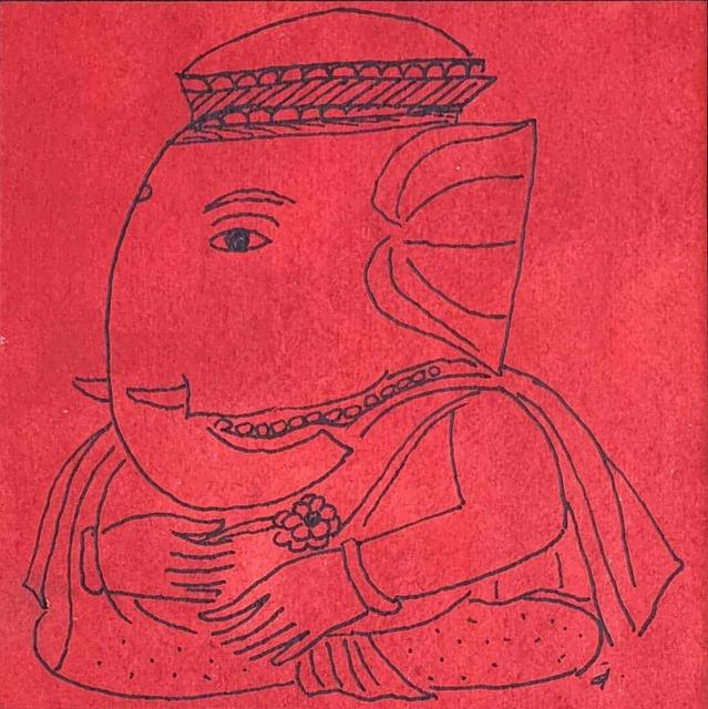 ", 'Ganesha, Ink & Watercolor on Paper, Red, Black by Padmashree Artist ""In Stock"",' ca. Circa, Gallery Kolkata"