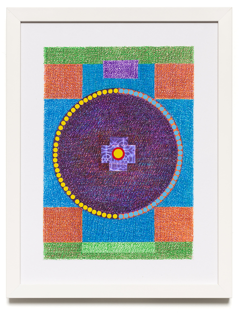Sharmistha Ray, 'Cosmic Earth', 2020, Drawing, Collage or other Work on Paper, Automatic writing with colored pens, markers, Dollar Store tape, and stationery stickers on archival sketchbook paper, Carrie Secrist Gallery
