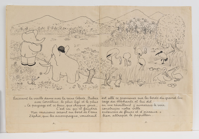 ", '""Babar has gone for a walk along the banks of a large lake...,"" illustration for Babar the King,' 1936, Mary Ryan Gallery, Inc"