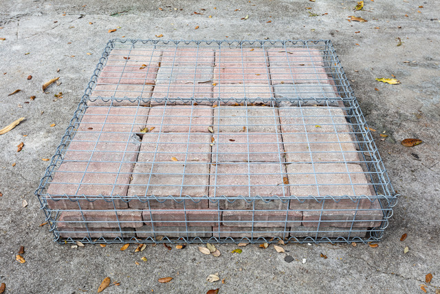 Tom Scicluna, '33190', 2021, Sculpture, Gsbion cages and concrete pavers, Nina Johnson