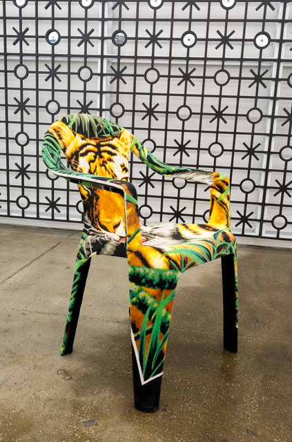 Edra Soto, 'Tropicalamerican (Chair)', 2014, Sculpture, Plastic monoblock chair upholstered with beach towel, Morgan Lehman Gallery