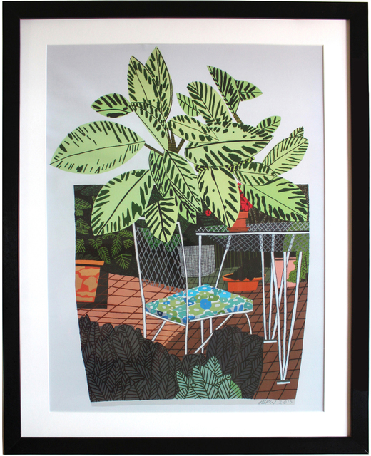 Jonas Wood, 'Landscape Pot with Flower Chair poster', 2016, EHC Fine Art Gallery Auction