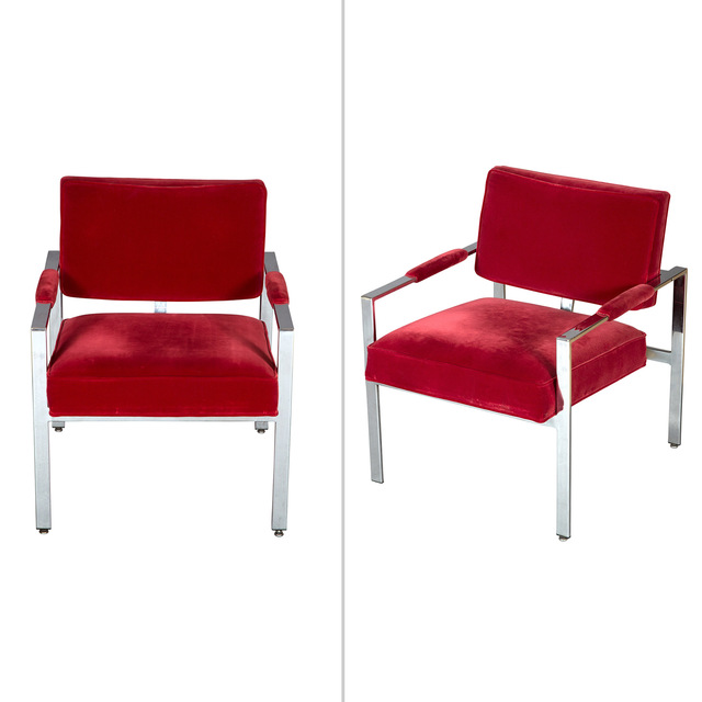 'Two Mid-Century Upholstered Chromed Metal Open Armchairs', Doyle