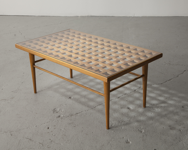 , 'Coffee table in pau marfim (ivory wood) with glass top, designed by Joaquim Tenreiro,' 1940-1950, R & Company