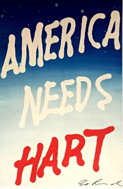 Ed Ruscha, 'America Needs Hart', 1983, Print, Limited Edition Offset lithograph. Hand signed in marker by Ed Ruscha, Alpha 137 Gallery