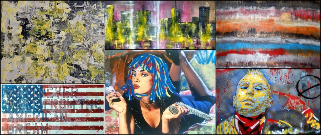 Greg Beebe, found his true calling in the art world when he began creating spontaneous and thought-provoking abstract works of art. Beebe's earlier mediums of expression also included spray painting graffiti, cartooning as well as sketching free hand imagery. Top Row (Left to Right): 'Blur No. 7', 2015; 'Cityscape No. 2', 2015; 'World Colour No. 9', 2016; Bottom Row (Left to Right): 'Patriot', 2017; 'The Pulp', 2016; 'Taxi II', 2016
