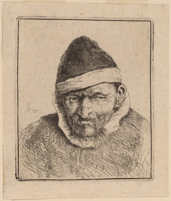 Adriaen van Ostade, 'Peasant Wearing a Pointed Cap', probably 1640, National Gallery of Art, Washington, D.C.