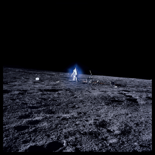 , '055 Alan Bean Surrounded by Blue Aura Thought to be Water-Vapor Ice Crystals; Photographed by Charles Conrad, Apollo 12, November 14-24, 1969,' 1999, Danziger Gallery