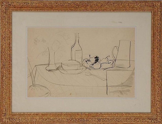 Jean Dufy, 'Tabletop Still Life', ca. 1950, Drawing, Collage or other Work on Paper, Ink on paper, Nikola Rukaj Gallery