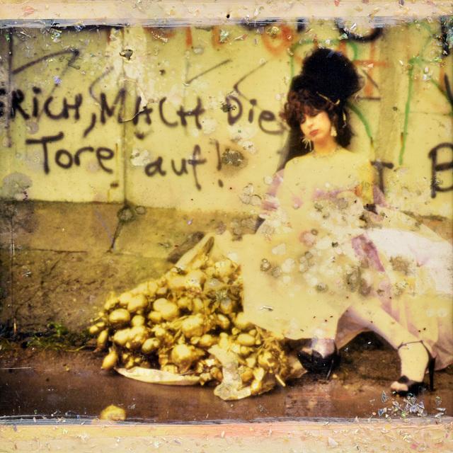 """, 'Mata Hari & The Stolen Potatoes in front of Berlin Wall. """"Eric open the door"""" - Street performance,' 1984, Galerie Kornfeld"""