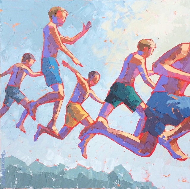 "Paul Norwood, '""Mid Air"" Boys in Green Blue and Yellow Bathing Suits Jumping into Water', 2010-2017, Eisenhauer Gallery"