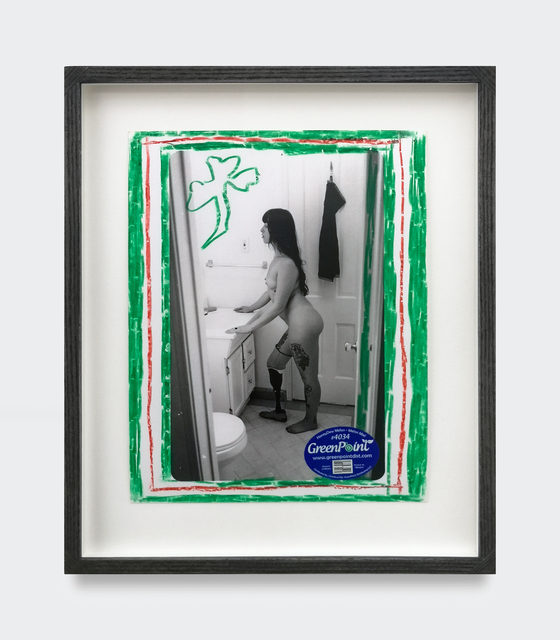 Kingsley Ifill, 'Untitled', 2019, Mixed Media, Artist made gelatin silver print, Chinagraph pencil and fruit sticker In handmade transparent black ash wood frame with Ultravue glass, V1 Gallery